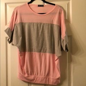 Tops - Pink and Gray Loose Fitting Shirt